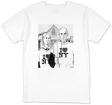 Grant Woods' 'American Gothic' couple dressed in I Love NY t-shirts. - New Yorker T-Shirt T-shirts by Marisa Acocella Marchetto