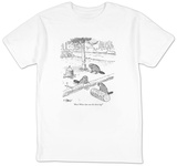 """Wow! Whose idea was the cheese log"" - New Yorker T-Shirt T-shirts by Peter Steiner"