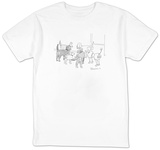 A group of dogs in a circle; they all have nametags attached to their rear? - New Yorker T-Shirt T-Shirt by Danny Shanahan