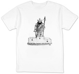 Viking warrior stands atop winners' platform with bloody weapons in hand;  - New Yorker T-Shirt Shirt by John Jonik