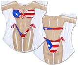 Puerto Rican Flag Bikini Cover-Up T-Shirt