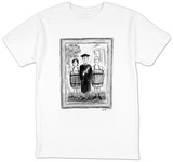 Photograph of a college graduate in cap and gown holding a diploma.  He is? - New Yorker T-Shirt Shirt by Warren Miller