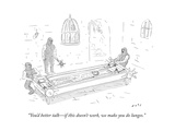 """You'd better talk—if this doesn't work, we make you do lunges."" - New Yorker Cartoon Premium Giclee Print by Kim Warp"
