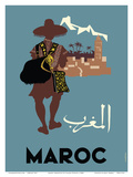 Maroc (Morocco) - Native Moroccan approaches town Posters af Claude Fevrier