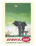 Africa - Elephants - by SAS Scandinavian Airlines System Giclée-tryk af Otto Nielsen