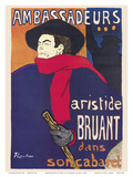Ambassadeurs: Aristide Bruant dans son Cabaret (Ambassadors: Aristide Bruant in his Cabaret) Posters by Henri Toulouse-Lautrec