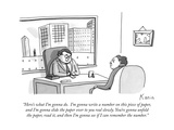 """Here's what I'm gonna do.  I'm gonna write a number on this piece of pape..."" - New Yorker Cartoon Premium Giclee Print by Zachary Kanin"