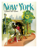 New York - Central Park Horse Drawn Carriage - United Air Lines Giclée-tryk