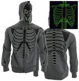 Zip Hoodie: Glow in The Dark Skeleton Sweat à capuche à fermeture à glissière