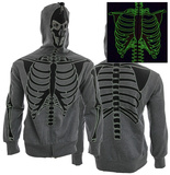 Zip Hoodie: Glow in The Dark Skeleton Costume Top (Front/Back) Zip Hoodie