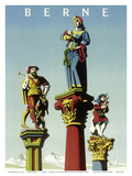 Berne - Capital of Switzerland - Old Town Fountain Statues Poster by Hans Hartmann