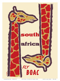 South Africa- Giraffes - Fly BOAC (British Overseas Airways Corporation) Poster by H. Niezen