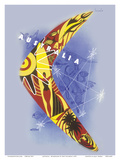 Australia - Boomerang - Kangaroo - Aboriginal Art - Australian National Travel Association Posters by Gert Sellheim