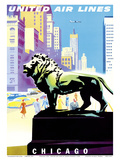 Chicago, USA - Bronze Lion Statues - Art Institute of Chicago - United Air Lines Posters by Joseph Binder
