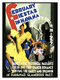 February Fiestas in Havana, Cuba - January 30 to February 28, 1937 Poster by Enrique Caravia Montenegro