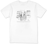 """I try to keep my coffee buzz going till the Martini buzz kicks in."" - New Yorker T-Shirt Shirts by Leo Cullum"