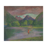Afterglow, Tautira River, Tahiti, Fisherman Spearing a Fish, c.1895 Giclee Print by John La Farge