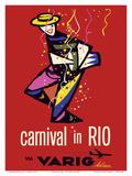 Carnival in Rio - Rio de Janeiro, Brazil - via Varig Airlines Prints