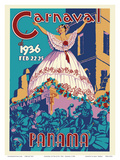 Panama Carnaval de (Carnival of) Feb 22-25, 1936 - Viva La Reina (Hail to the Queen) Posters