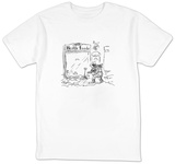 A healthfood store keeper is scattering salt substitute on the sidewalk ou? - New Yorker T-Shirt T-shirts by Sidney Harris