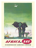 Africa - Elephants - by SAS Scandinavian Airlines System Plakater af Otto Nielsen