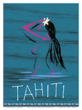 Tahiti - Nude Tahitian Girl - Fly Teal (Tasman Empire Airways Limited) Posters by Arthur Alfred Thompson