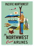 Pacific Northwest - Fly Northwest Orient Airlines Posters