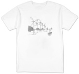 A line of windmills is powered by electric fans. - New Yorker T-Shirt T-shirts by John Klossner
