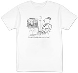 """Welcome to 'All About the Media,' where members of the media discuss the ?"" - New Yorker T-Shirt Shirts by David Sipress"