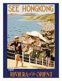 See Hong Kong - The Riviera of the Orient - China - Sedan (Jianyu) Shoulder Carriage Wydruk giclee autor J.D. Pandary