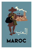 Maroc (Morocco) - Native Moroccan approaches town Giclée-tryk af Claude Fevrier