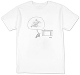 Cat thinks of a complex equation to get a ball off of a table. - New Yorker T-Shirt T-shirts by Jack Ziegler