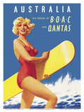 Australia - Fly there by BOAC (British Overseas Airways Corporation) and Qantas Posters