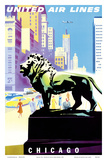 Chicago, USA - Bronze Lion Statues - Art Institute of Chicago - United Air Lines Prints by Joseph Binder