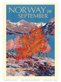 Norway in September - Fjord - Norwegian State Railways Posters by Freda Lingstrom