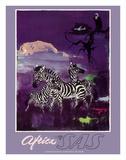 Africa - Zebras - Mount Kilimanjaro - SAS Scandinavian Airlines System Giclée-tryk af Otto Nielsen