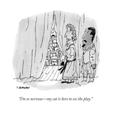 """I'm so nervous—my cat is here to see the play."" - New Yorker Cartoon Premium Giclee Print by Tim Hamilton"