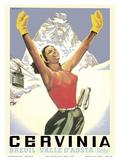 Breuil-Cervinia, Italy - Skier at Alpine Sky Resort - Valle D'Aosta (Aosta Valley) Posters by Arnaldo Musati