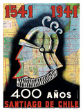 1541 to 1941 - 400 Year Anniversary of Santiago, Chile - Conquistador Prints by O. O. Valle