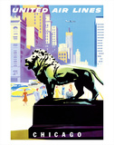 Chicago, USA - Bronze Lion Statues - Art Institute of Chicago - United Air Lines Giclee Print by Joseph Binder