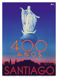 Santiago, Chile - 400 Anos (400 Years) Anniversary - Virgin Mary Statue, San Cristobal Hill Prints