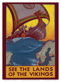 See the Land of the Vikings - Map of Scandinavia - Viking Ship Posters af Ben Blessum