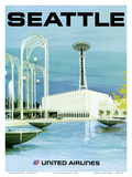 Seattle - Space Needle and Seattle Center - United Airlines Poster by  Hollenbeck