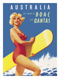 Australia - Fly there by BOAC (British Overseas Airways Corporation) and Qantas Giclee Print