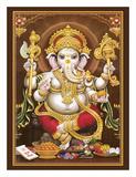 Lord Ganesha - Hindu Elephant Headed Deity - God of Wisdom, Knowledge and New Beginnings Digitálně vytištěná reprodukce