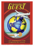 Aerovias Guest - Les Ameriiques Par La Route du Soleil (The Americas by the Sun Route) Prints by  Plaquet