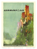 Germany - Rhine River Valley Castle - SAS Scandinavian Airlines System Print by Otto Neilsen