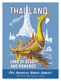 Thailand by Clipper - Land of Beauty and Romance - Royal Barge - Wat Arun Posters