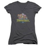 Juniors: Fraggle Rock- Circle Logo V-Neck Shirt
