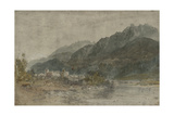 St Gothard and Mont Blanc Sketchbook [Finberg LXXV], Bonneville and the River Arve Giclee Print by Joseph Mallord William Turner